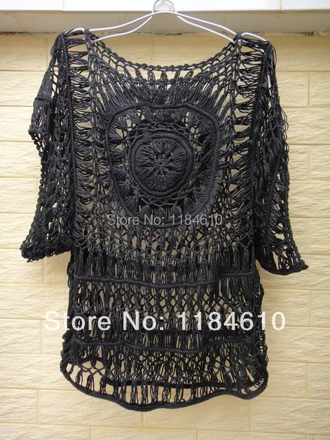 Black Lace Tunics Women Crochet Blouse Top Sheer Summer Cover Up