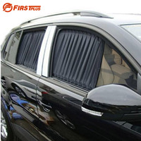 2 X Update 70L Aluminum Alloy Elastic Auto Car Side Window Sunshade Curtain Black Beige Gray