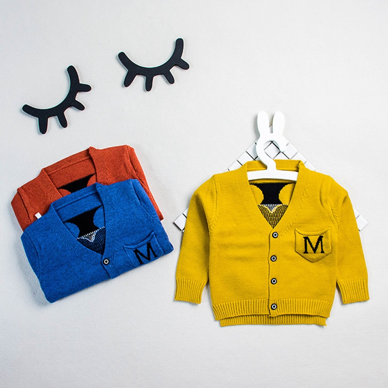 WYNNE GADIS Autumn Baby Boys Long Sleeve V Neck Cartoon Knitwear Sweater Kids Cardigans Outerwear Coat roupas de bebe