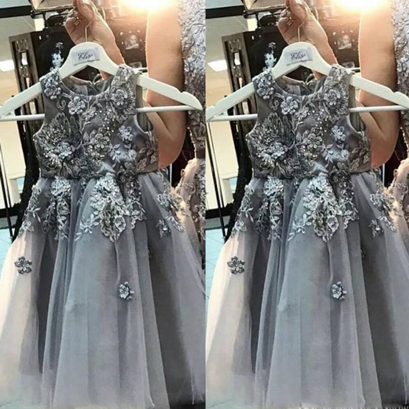 2017 New Pretty Gray Tulle Flower Dresses Liques Beaded Sleeveless Lovely A Line Wedding Kids Gowns For Party In From Weddings