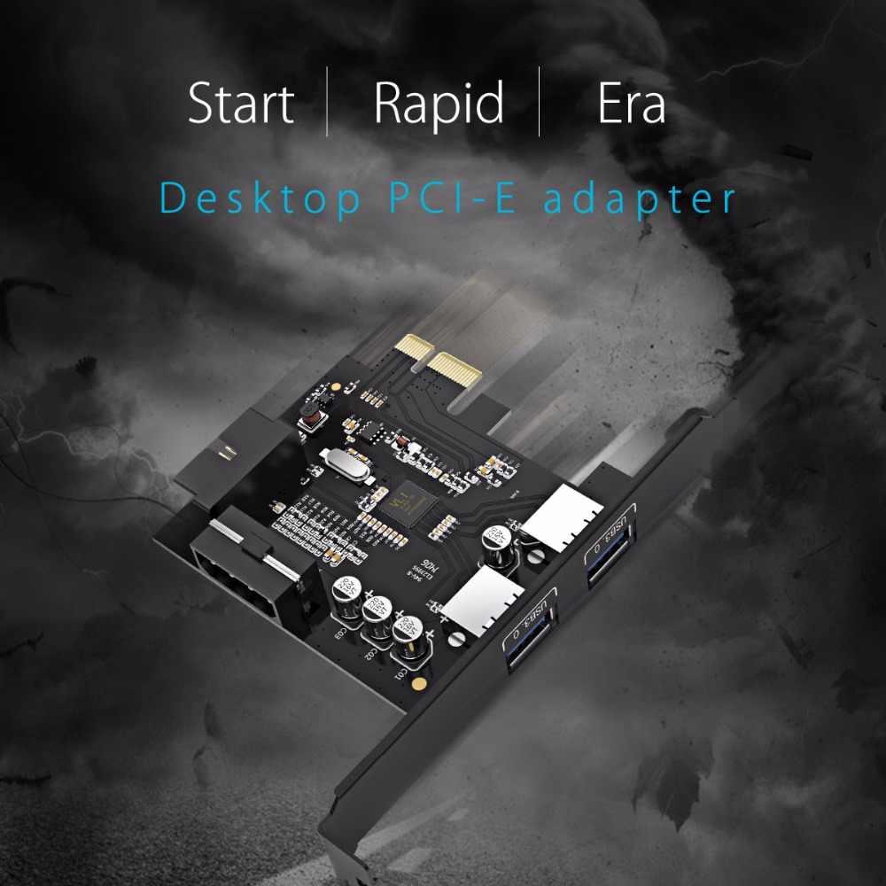 ORICO USB 3,0 PCI-E adaptador de tarjeta de expansión PCI-E USB 3,0 tarjeta adaptadora del controlador HUB con 15Pin fuente de alimentación extensión PCI-E tarjeta