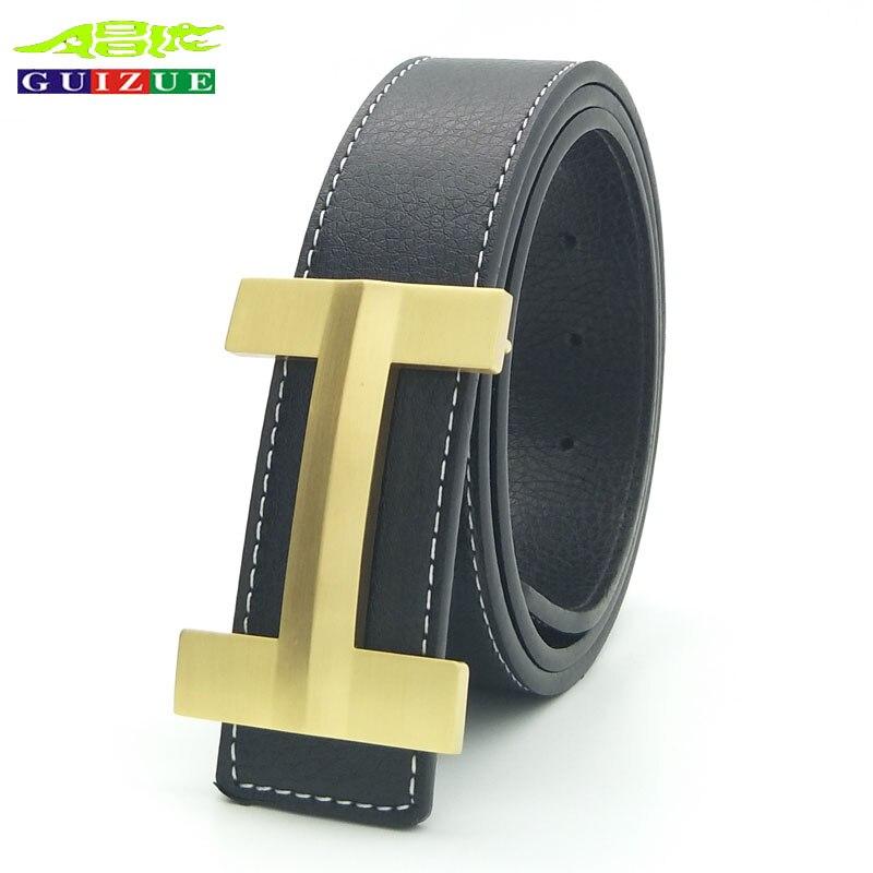 New Genuine GUIZUE Luxury Brand Men Belt Vintage Design H Copper Buckle Strap High Quality Cowskin