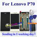 """Alta calidad lcd display + touch screen reemplazo digitalizador para lenovo p70 p70-t p70t teléfono celular 5.0 """"Blanco negro con marco"""