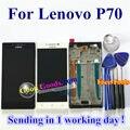 """Alta qualidade display lcd + touch screen digitalizador substituição para lenovo p70 p70-t p70t cell phone 5.0 """"preto Branco com moldura"""