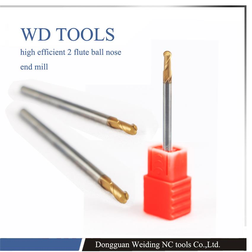 2pc ARCO Coated 2 Two flutes Ball Nose HRC65 R1.25 mm extra long length 50mm tungsten carbide end mill bit CNC milling cutter