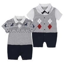 Nyfödda barnkläder kostymer sommar klättring kläder män kläder baby bomull kläder gentleman kortärmad jumpsuit pojkduk