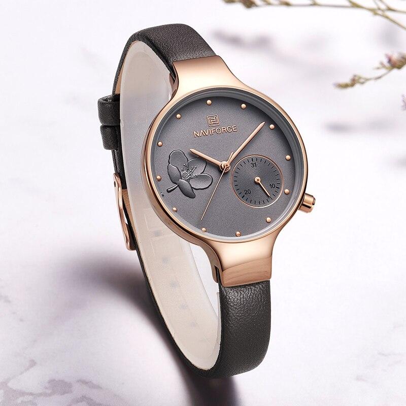 Image 2 - NAVIFORCE Women Watches Top Brand Luxury Fashion Female Quartz Wrist Watch Ladies Leather Waterproof Clock Girl Relogio Feminino-in Women's Watches from Watches