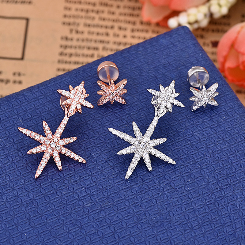 Hot Sales Asymmetry Star AAA Zircon Earrings Silver And Rose Gold Color High Quality Earring For Women ZK50