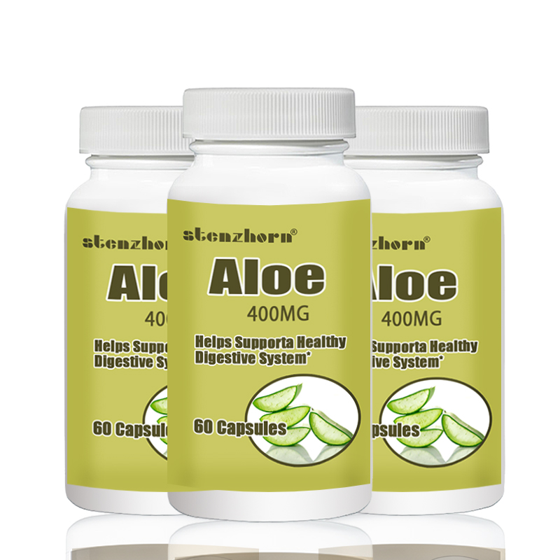 Aloe  60pcs  400mg X 3 Bottles Total 180PCS Supports A Healthy Digestive System
