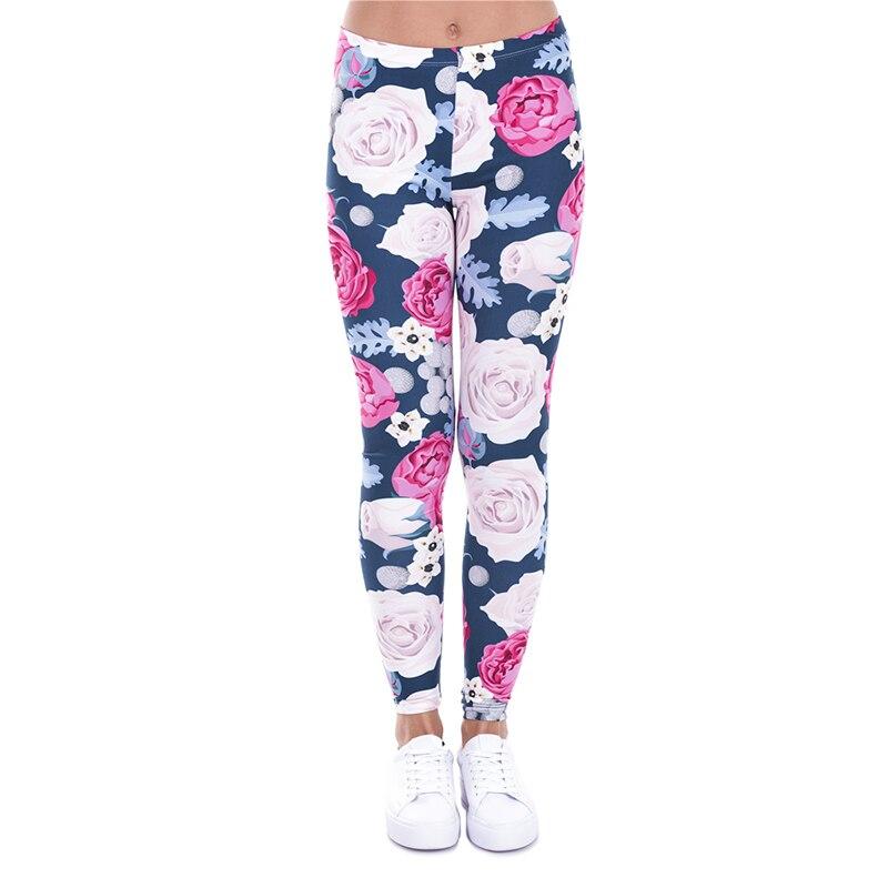 2017 kobiety moda na co dzień podstawowe legginsy dzikie róże różowe kwiaty drukowane legginsy wysoka talia 95% poliester 5% elastan pasuje do Legging w Legginsy od Odzież damska na  Grupa 1