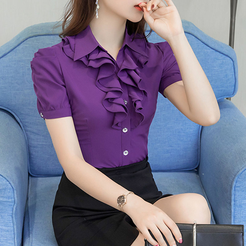 Purple White Summer Blouse Office Work Shirt Casual Tops Short Sleeve Shirts Plus Size 5XL Women Blouses Chiffon Shirt Blusas