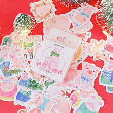 45Pcs/box Kawaii Pink pig Mini Paper Decoration DIY Scrapbook Notebook Album seal Sticker Stationery Holiday gift Girl