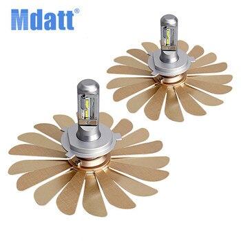 Mdatt Super Cooling Car Led Light 100W Fanless Headlight Bulbs H4 Led H1 H7 9005 9006 Foldable Fan Leaf 12V Auto Car Lamp Canbus
