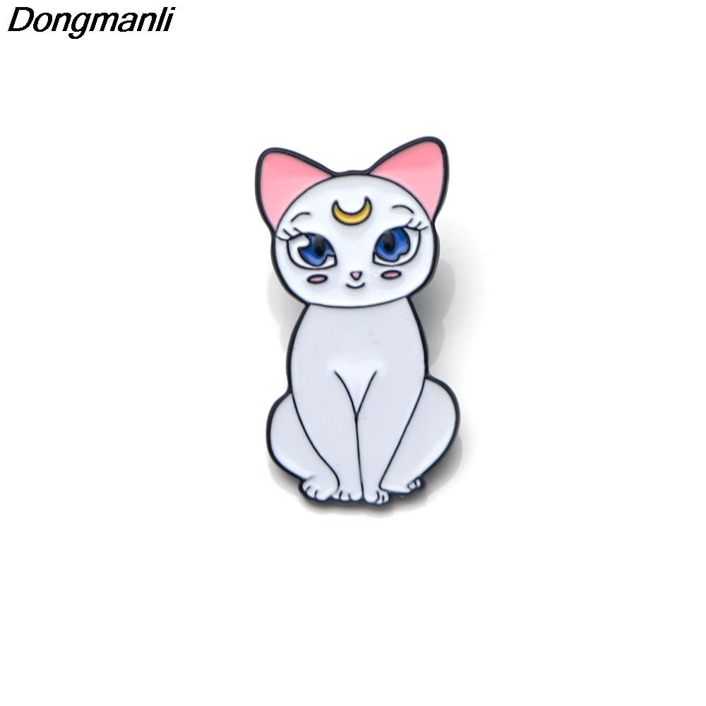 P2464 Dongmanli 20pcs lot wholesale Cute Sailor Moon Cats Enamel Pin Buckle Shirt Pins and Brooches