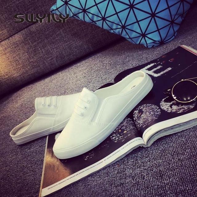 SWYIVY 44 Unix trampki 2018 wiosna lato kobieta płótno kapcie miłośników wygodne wsuwane leniwe buty kobiece oddychające sneakersy