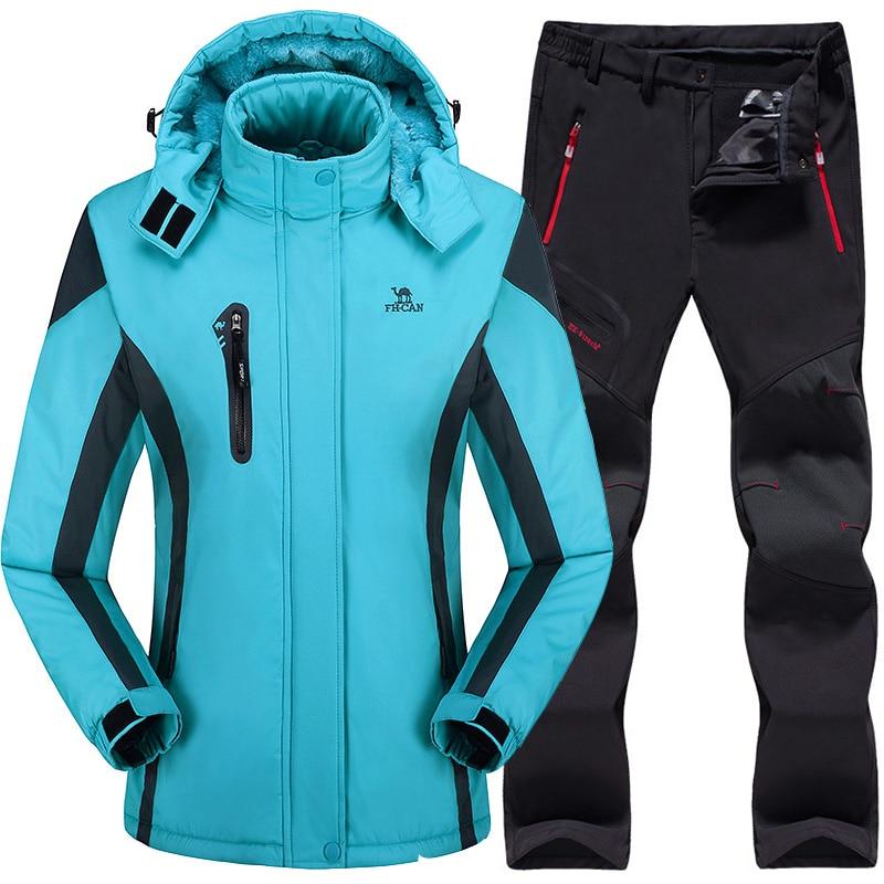 Ski Suit For Women Ski Jacket Pants Waterproof Mountain Skiing Suit Snowboard Sets Winter Outdoor Sports Fleece Thermal Clothing