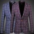 Alta Calidad de Un Solo Botón Slim Fit Business Casual Retro de La Vendimia Traje de Chaqueta de Los Hombres de la Tela Escocesa Blazer Plus Tamaño 5XL, 6XL, Azul Marino Purple