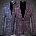 Top Quality Single Button Slim Fit Casual Business Retro Vintage Suit Jacket Men Plaid Blazer Plus Size 5XL,6XL,Purple Navy Blue
