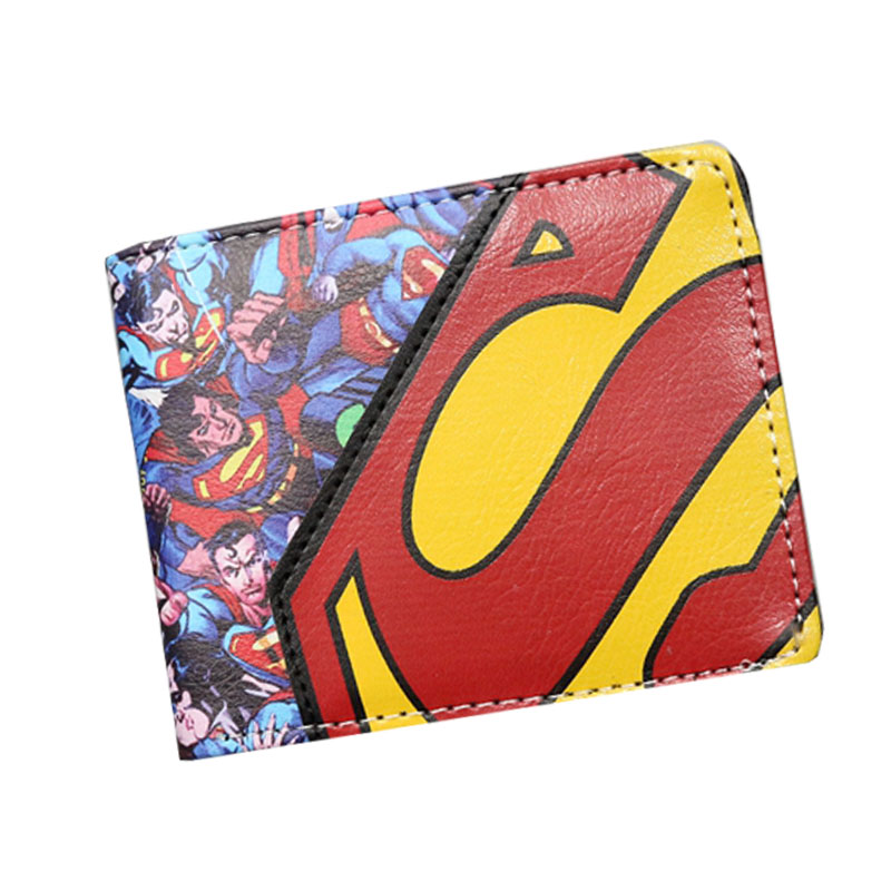 Hot Movie Superman Series Anime Wallet The Avengers Super Hero Wallet For Boys Girls Cartoon Purse Bilfold Short Supermen Wallet