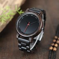 BOBO BIRD Ebony Watch Water Proof Quartz Movement Men Clock Style Wooden Strap Wristwatch Relogio Masculino