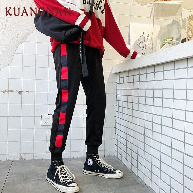 KUANGNAN Men Harem-Pants Jogger Striped Casual 5XL Red