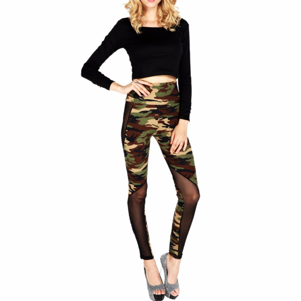 Women Sexy Mesh Camouflage Leggings High Waist Patchwork Stretchy Slim Army Camo Leggings Female Leggings Hot