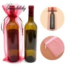 15x38 см подарочные сумки из органзы чехол для бутылки вина