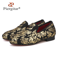 Piergitar 2019 new style parental shoe same men loafers design children velvet loafers handmade party and wedding kid slippers