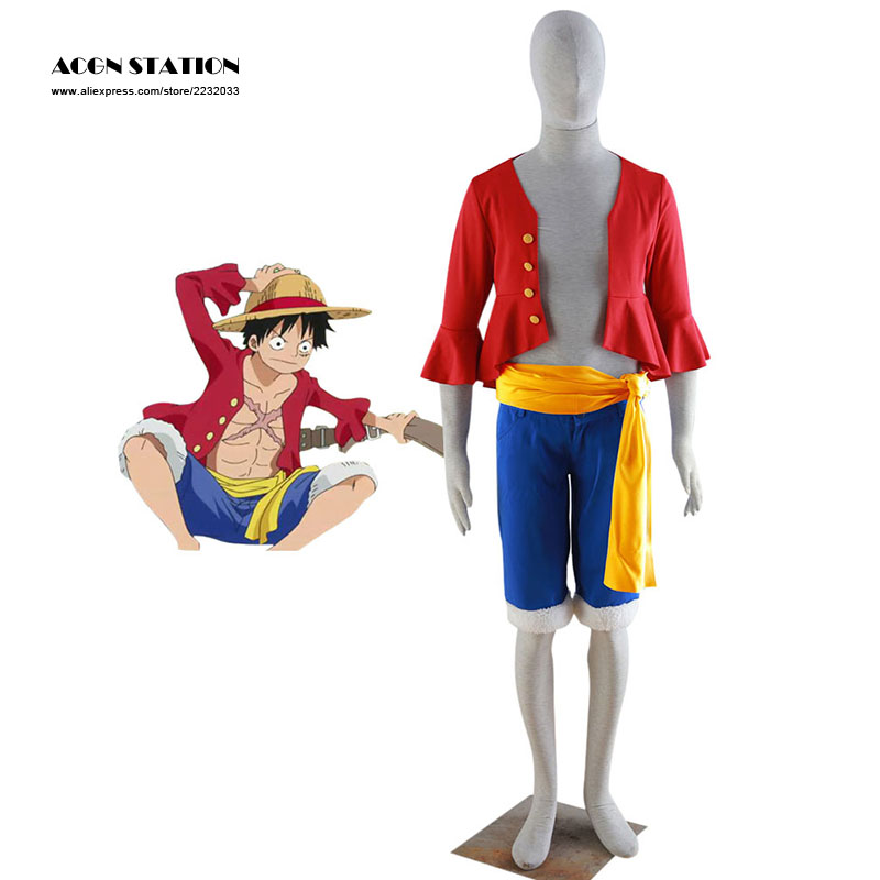 2018 Customize for adults and kids Free Shipping Japanese Anime Red One Piece Luffy Adult Kid Cosplay Costume Set For Halloween