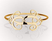 Wholesale Silver Monogram Bangle 1 25 Custom Single Initial Bracelet Personalized Bridesmaid Jewelry Christmas Gift Brazalete