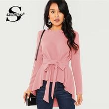 b52111b6291 Sheinside розовая рубашка с длинными рукавами Для женщин Блузы и рубашки  Осенняя Дамская завязывается поясом асимметричный