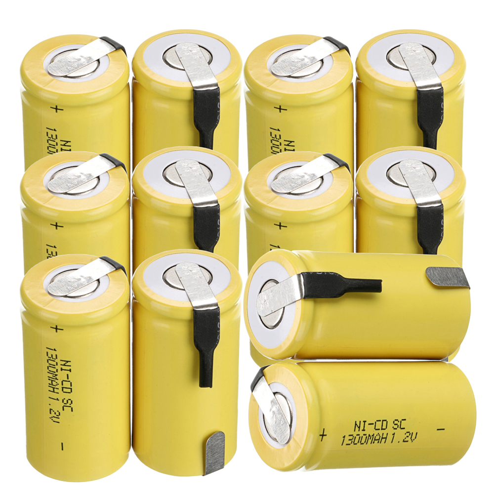 12 pcs SC 1300mah 1.2v battery NICD rechargeable batteries for emergency light toy equipment power batterie power tools