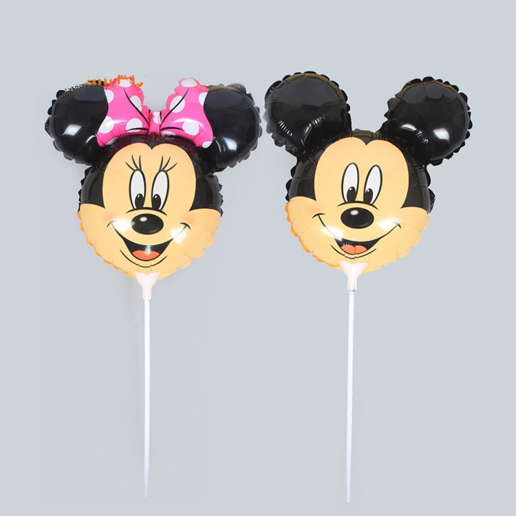 20pcs Cartoon Mickey Minnie Mouse Head Balloon With Stick 14.5inch Small Children Toys Globos Birthday Party Decor Supplies