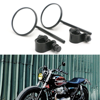 Universal Clamp On Motorcycle Round 4'' Rearview Mirrors For Honda Harley Yamaha Kawasaki Suzuki Dirt bike Custom Bobber
