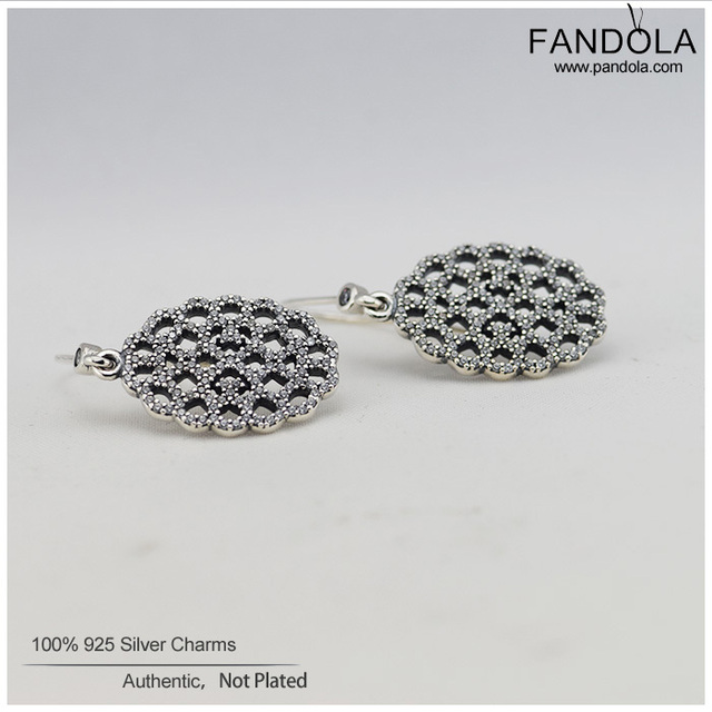 Authentic 925 sterling Silver Lace Earrings with Cubic Zirconia Silver Hoop Earring for Women Fashion Jewelry FLE030