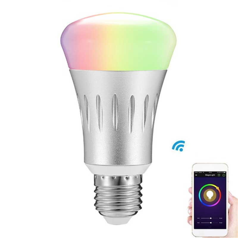 Dimension LED Bulb Light E27 8W RGB + White Dimmable WIFI Smart LED Bulb Light Lighting AC85-265V smart dimmable mushroom led bulb household intelligent lighting rgb e27 600lm ac85 265v switchable for ios and android