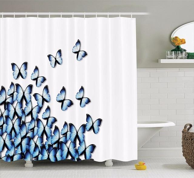 High Quality Arts Shower Curtains Butterflies Bottom Left Corner Flying Tropical Vibrant Color Bathroom Decorative Modern