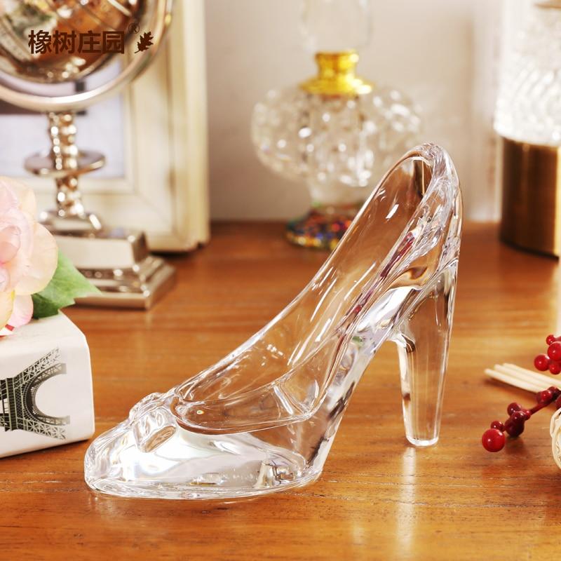 Hot fashion simple nordic style cinderella glass slipper for Home decor ornaments