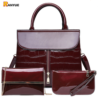 3Pcs Luxury Patent Leather Handbags Women Bags Designer Brand Famous Tote+Female Shoulder Crossbody Bags+Clutch Purse Bag Sets