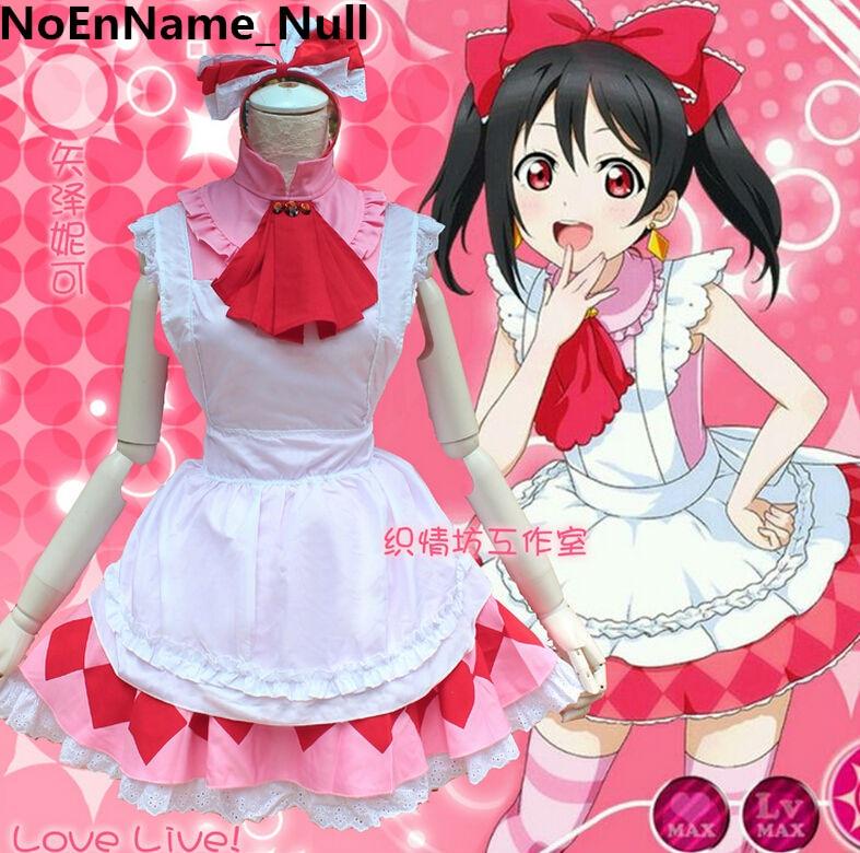 LoveLive! Minami Kotori Cosplay Costume Love live Yazawa Nico Maid Uniform Dress refreshing black medium with bunches love live yazawa nico uniform style cosplay wig