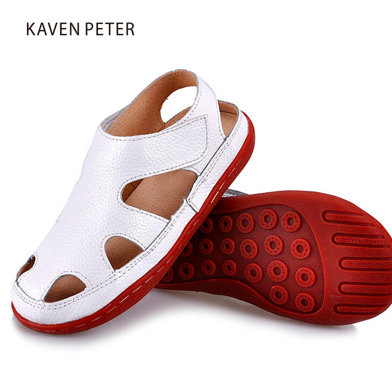 2018 summer Kids leather sandals Children genuine leather sandals boy beach shoes kids c ...