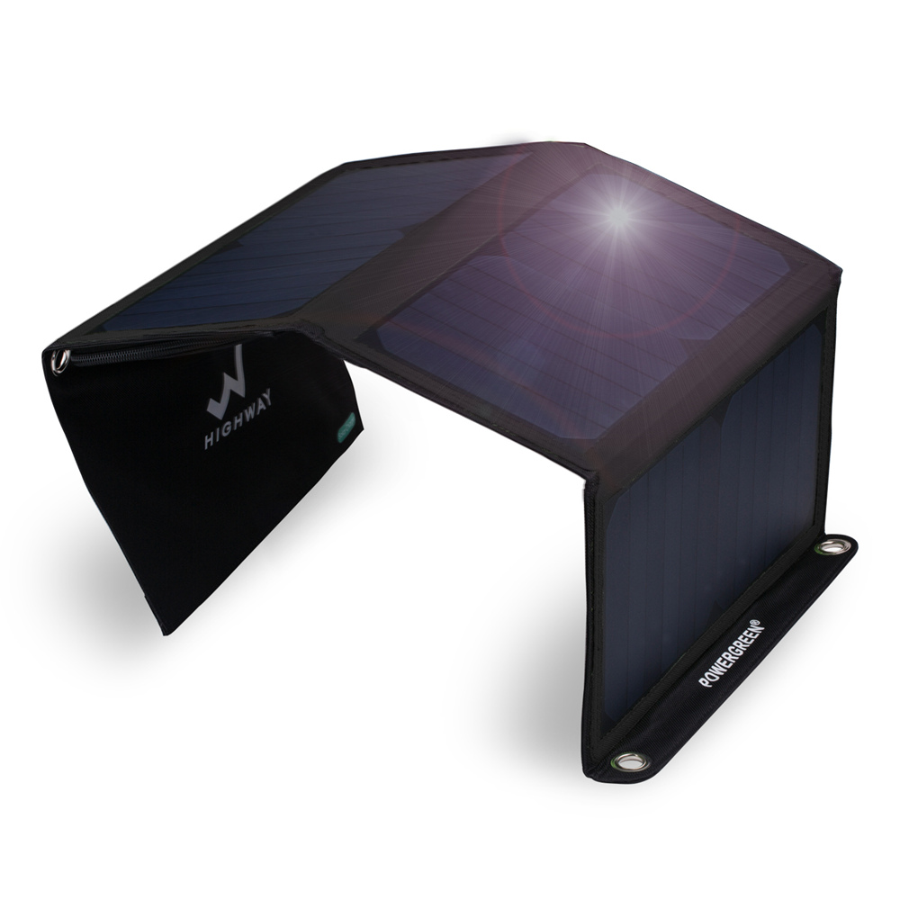 PowerGreen Solar Charger Panel Double Output 21 Watts Sammenleggbar - Tilbehør og reservedeler til mobiltelefoner - Bilde 1