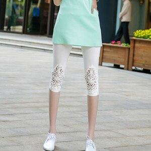 Image 5 - INDJXND Phụ Nữ Mới Giữa Eo Quần Mùa Hè Đầu Gối Rỗng Quần Ren Thời Trang Nữ Quần Dài Cotton Ra Hoa Mỏng Quần Skinny