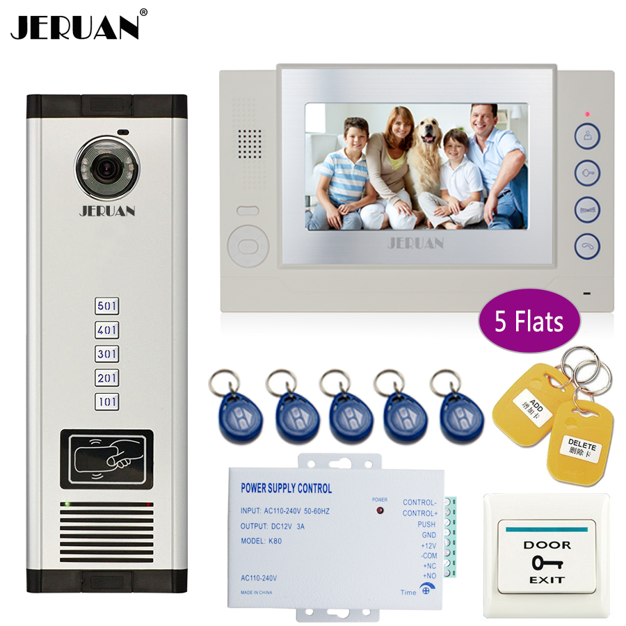 JERUAN Apartment 7`` Record Monitor 700TVL Camera Video Door Phone Intercom Access Home Gate Entry Security Kit for 5 Families my apartment