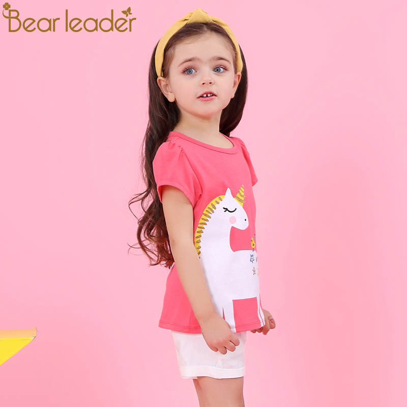 Bear Leader Girls Clothing Sets 2018 New Summer Clothing Sets Kids Clothes Unicorn Printed T-Shirt+Pants 2Pcs Suit For 2-6 Years bear leader autumn girls clothes baby girl clothing sets flower bow cute suit kids long sleeve top t shirt pants 2pcs