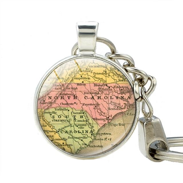 North Carolina Map Key Holder South Carolina State Map Pendant Car ...