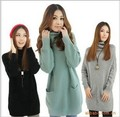 2016 Hot Sale Long Sleeve ruffled collar  5 Color In Stock big size Women warm big  pockets  Pullover  long Sweater dress