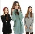 2016 Venta Caliente de Manga Larga con volantes cuello de 5 Colores En Stock grande tamaño de Las Mujeres calientes grandes bolsillos Pullover Suéter largo vestido