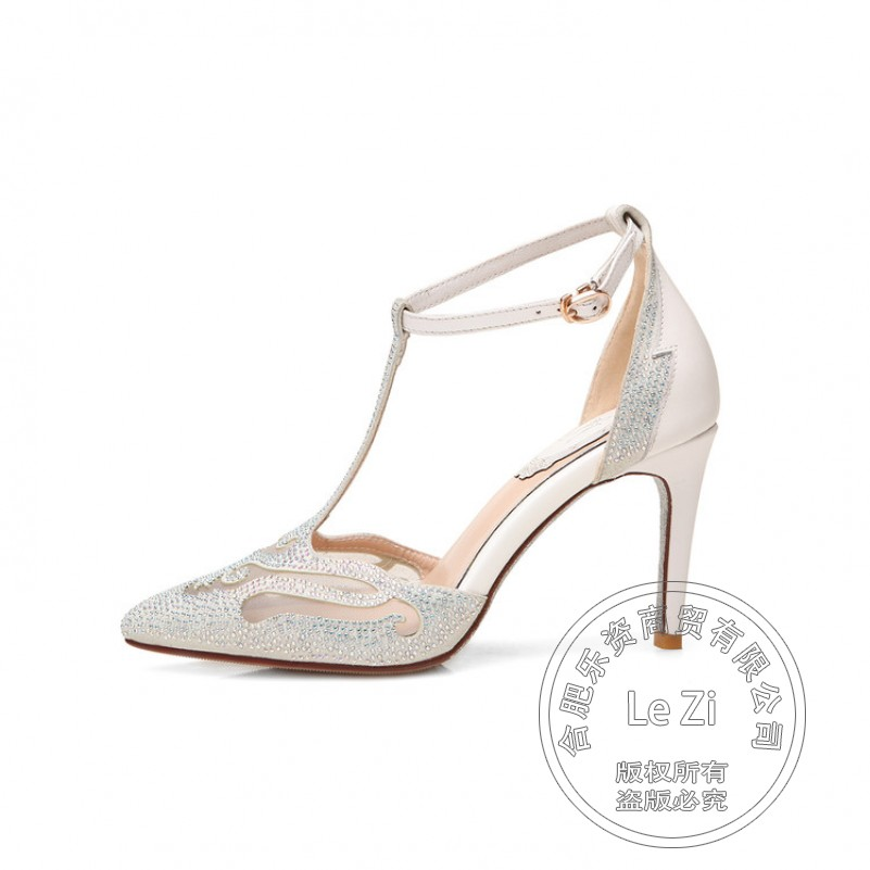 Pig Leather Hoof Heels High Heels Models China Shoes Pointy Plain Red Trendy Buckle Strap Leisure