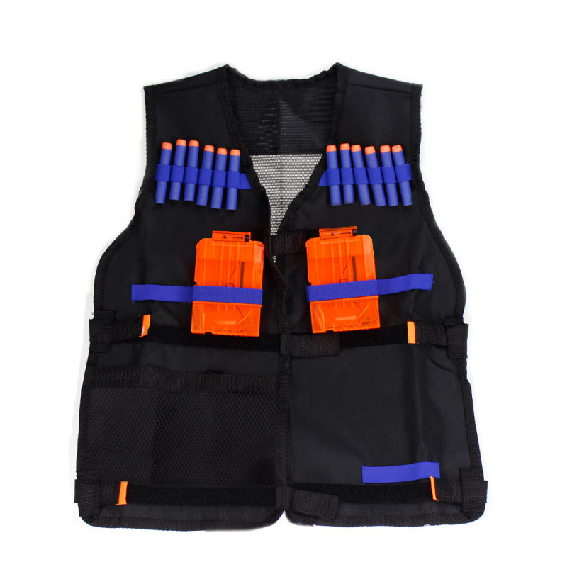 54x47cm Children Kids Black Tactical Vest Jacket Waistcoat Ammo Holder Lite Pistol Bullets Toy Clip Darts For Nerf Dropshipping